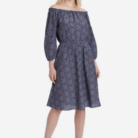 Tucker Dresses & Skirts - TUCKER OFF SHOULDER MIDI DRESS NAVY VINE XL